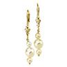 Boucles d'oreilles de 3 perles d'eau douce blanches
